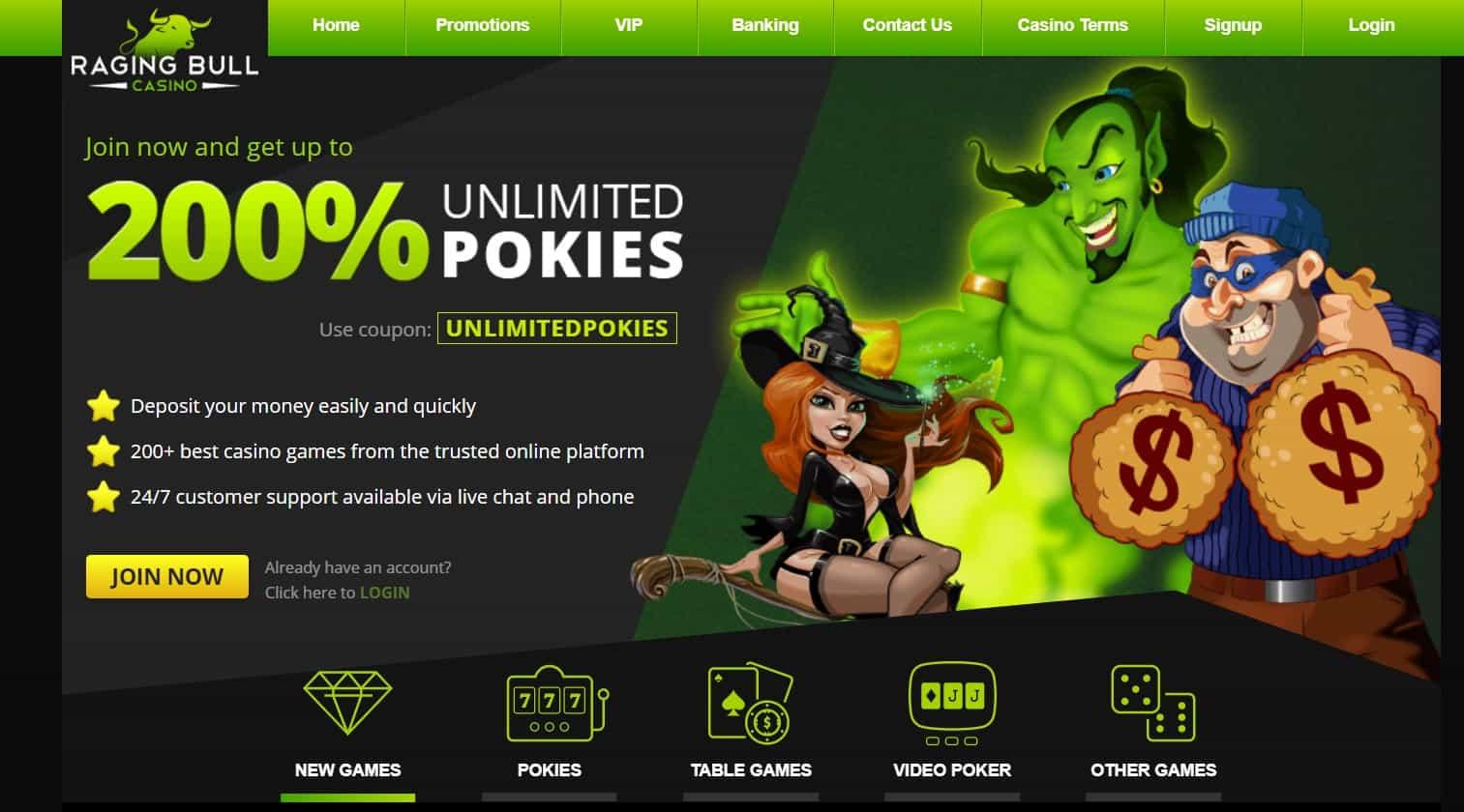 raging bull casino homepage