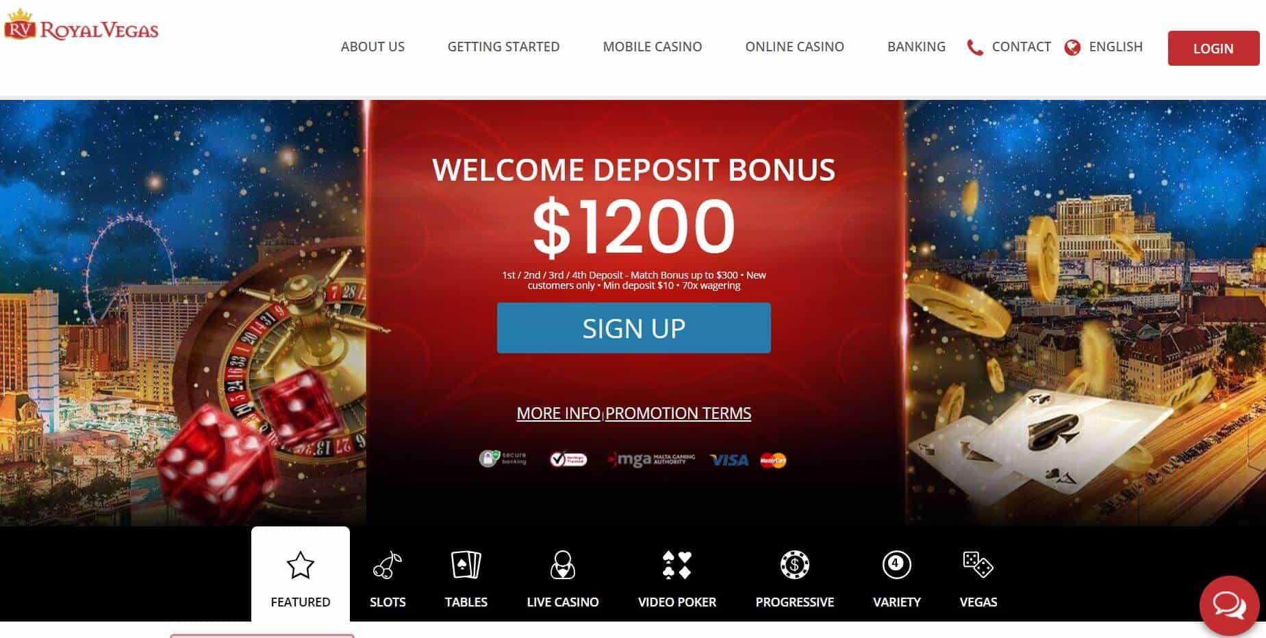 Royal Vegas homepage