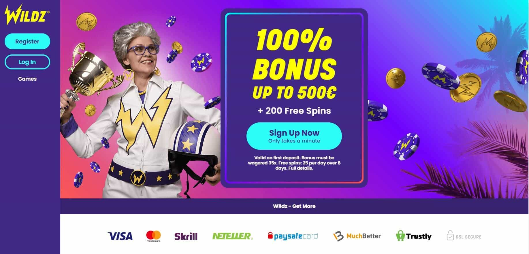 Wildz casino homepage