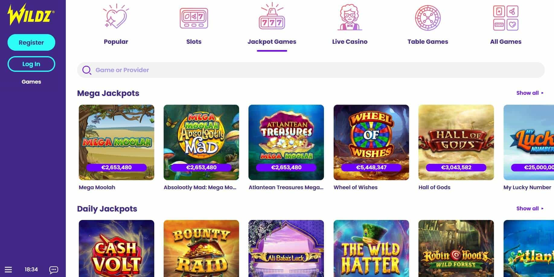 Wildz casino Jackpot games