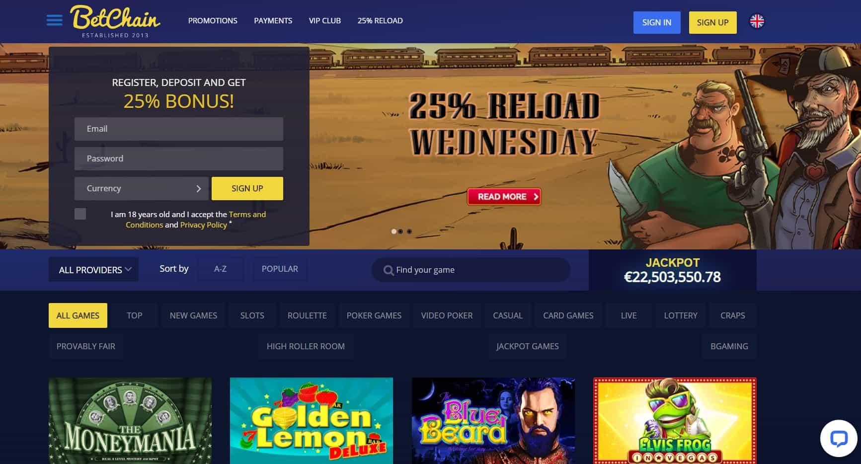 Bet chain casino homepage