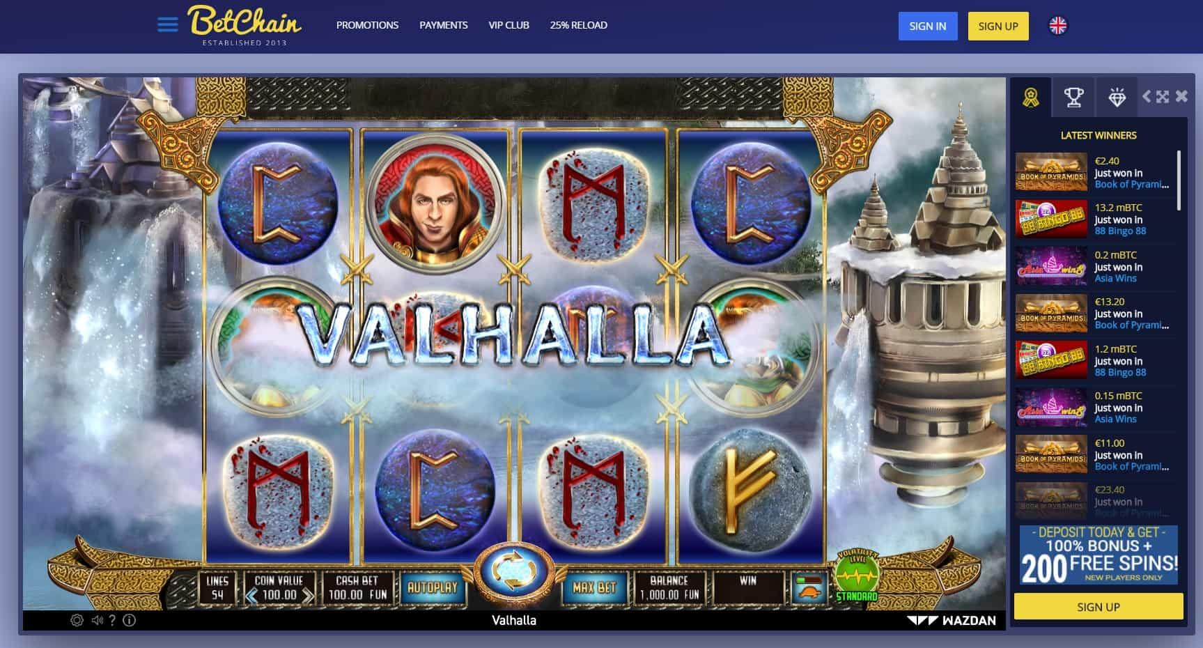 Bet chain casino slot game