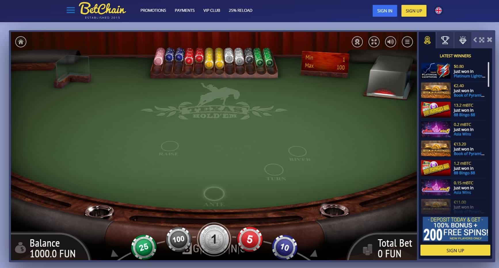 Bet chain casino texas holdem game