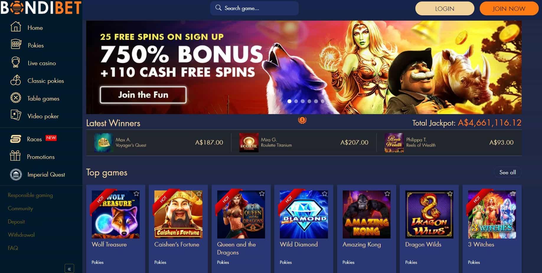 bondibet casino homepage