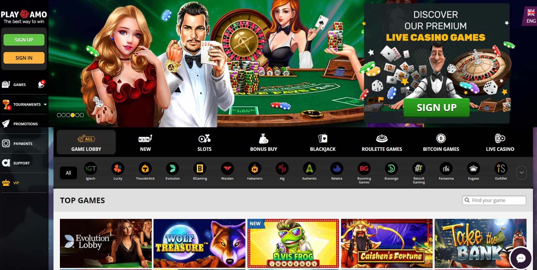 playamo casino homepage