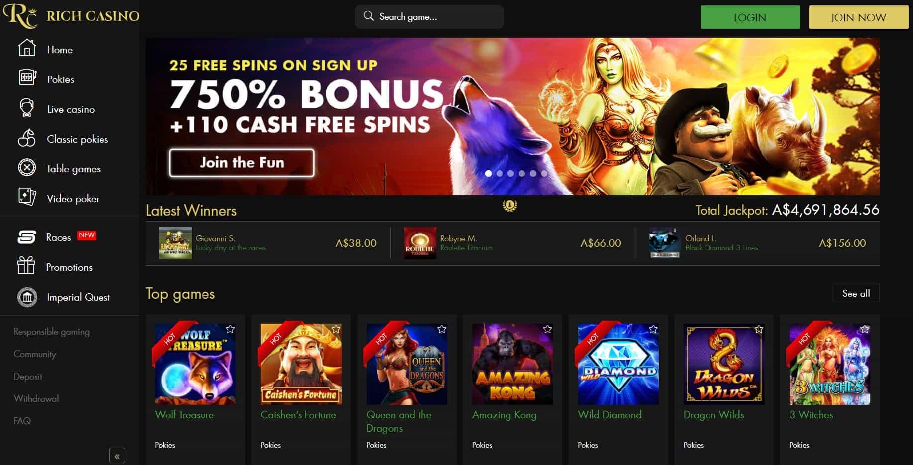 rich casino homepage