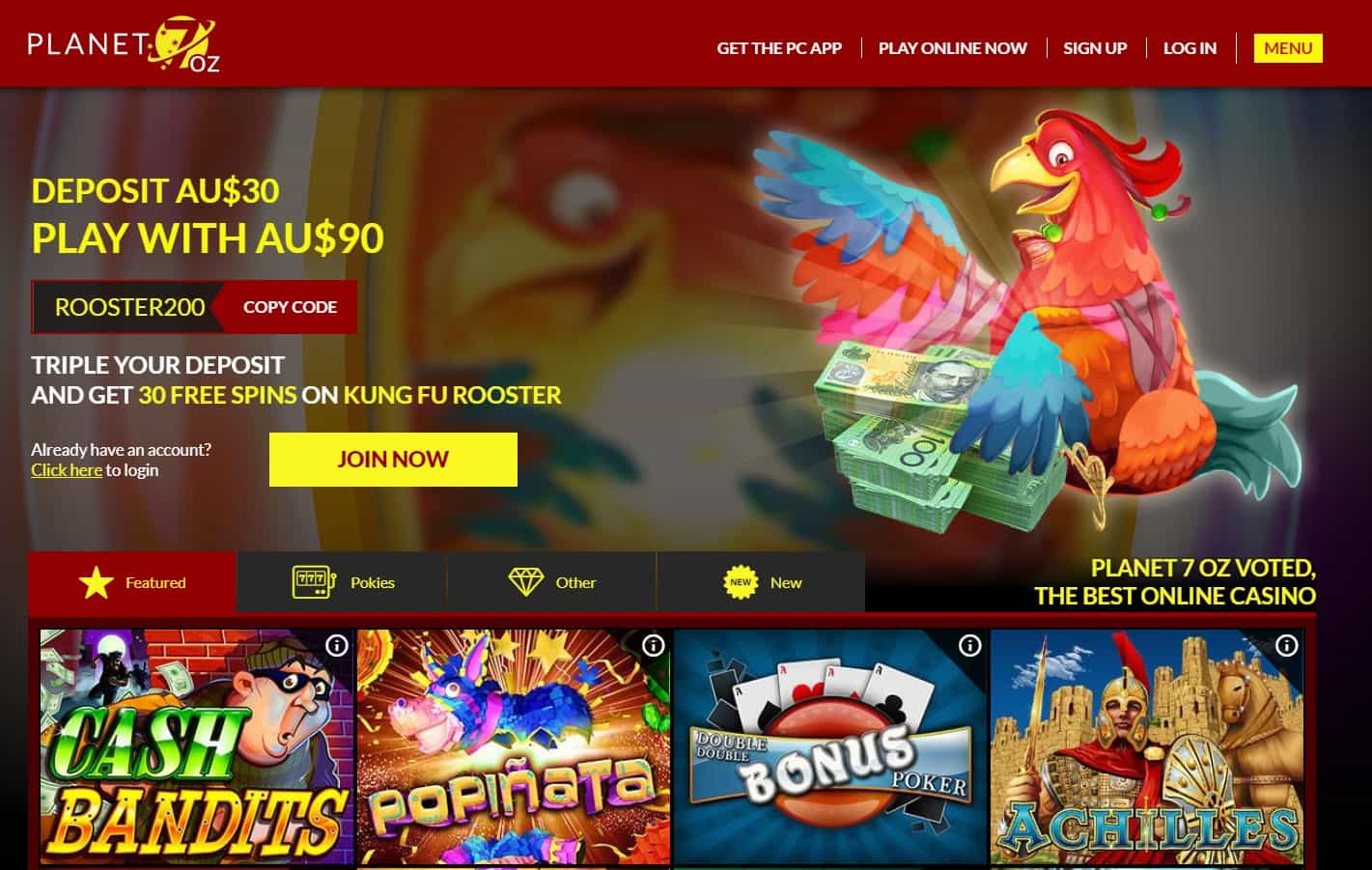 Planet 7 OZ casino homepage