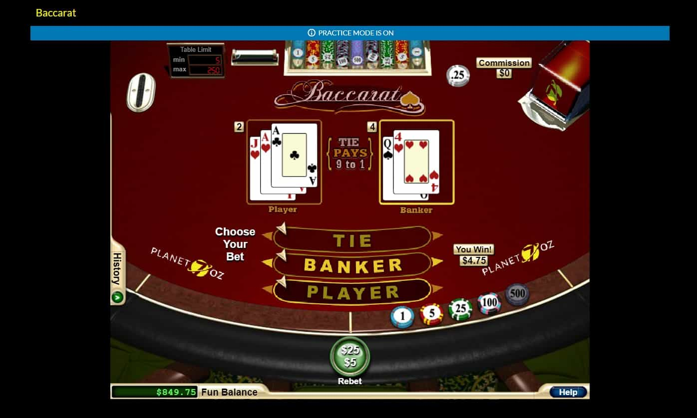 Planet 7 OZ casino Baccarat
