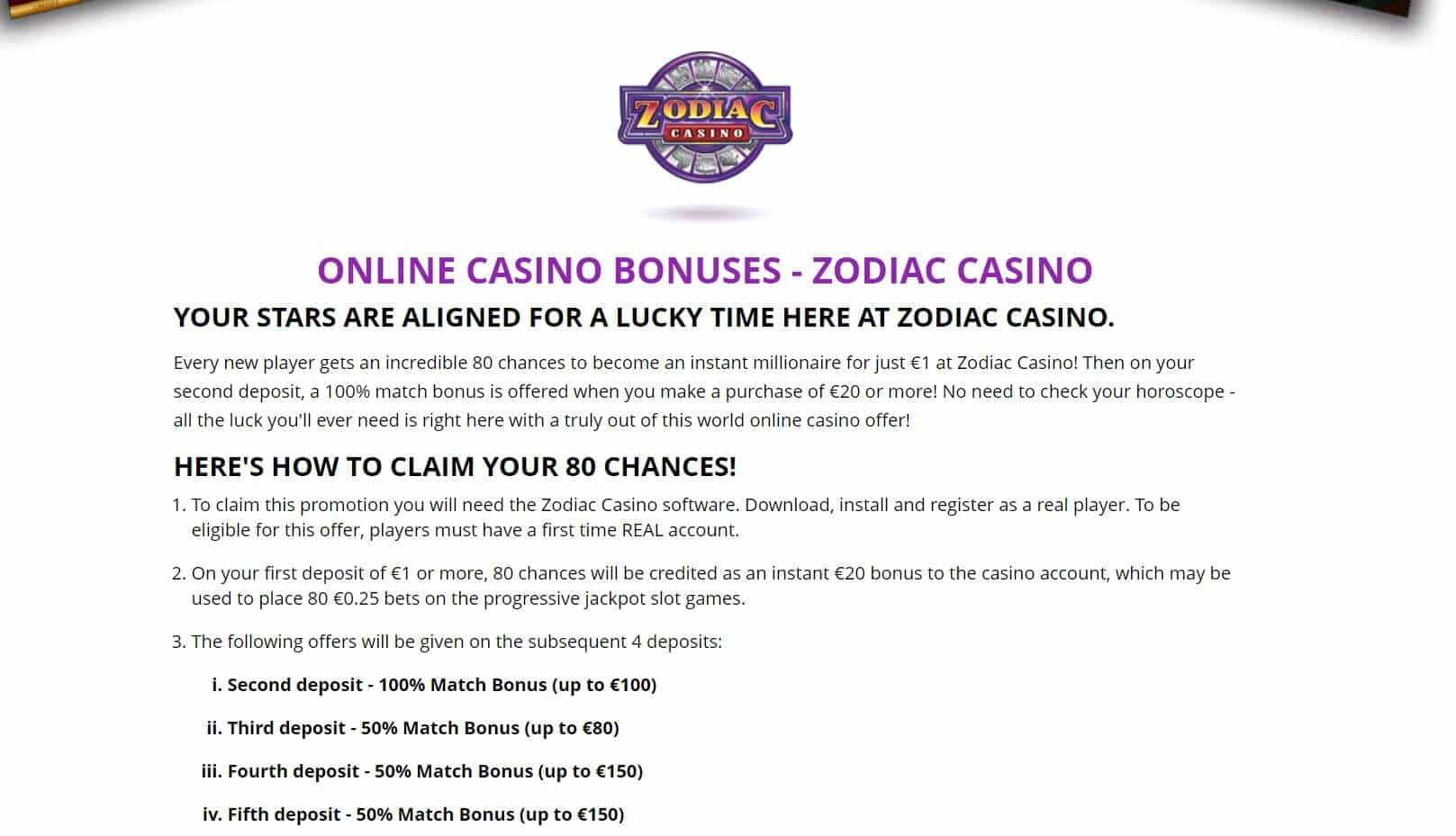 Zodiac casino bonus system