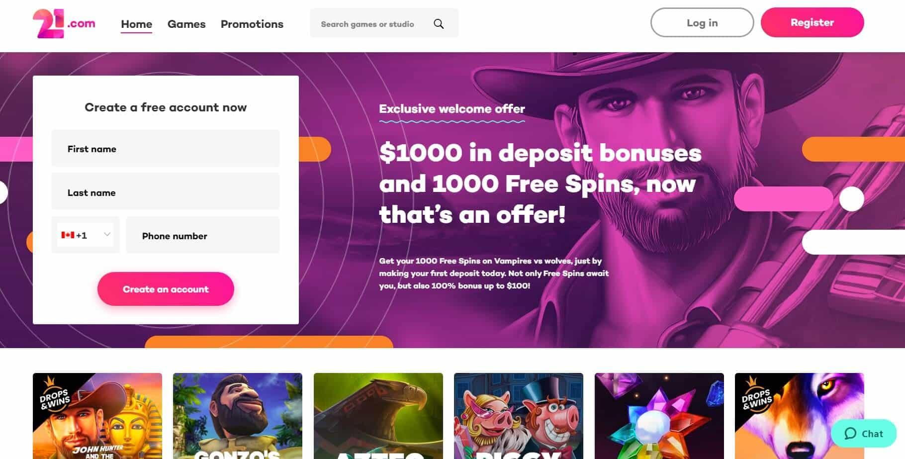 21. com Casino homepage