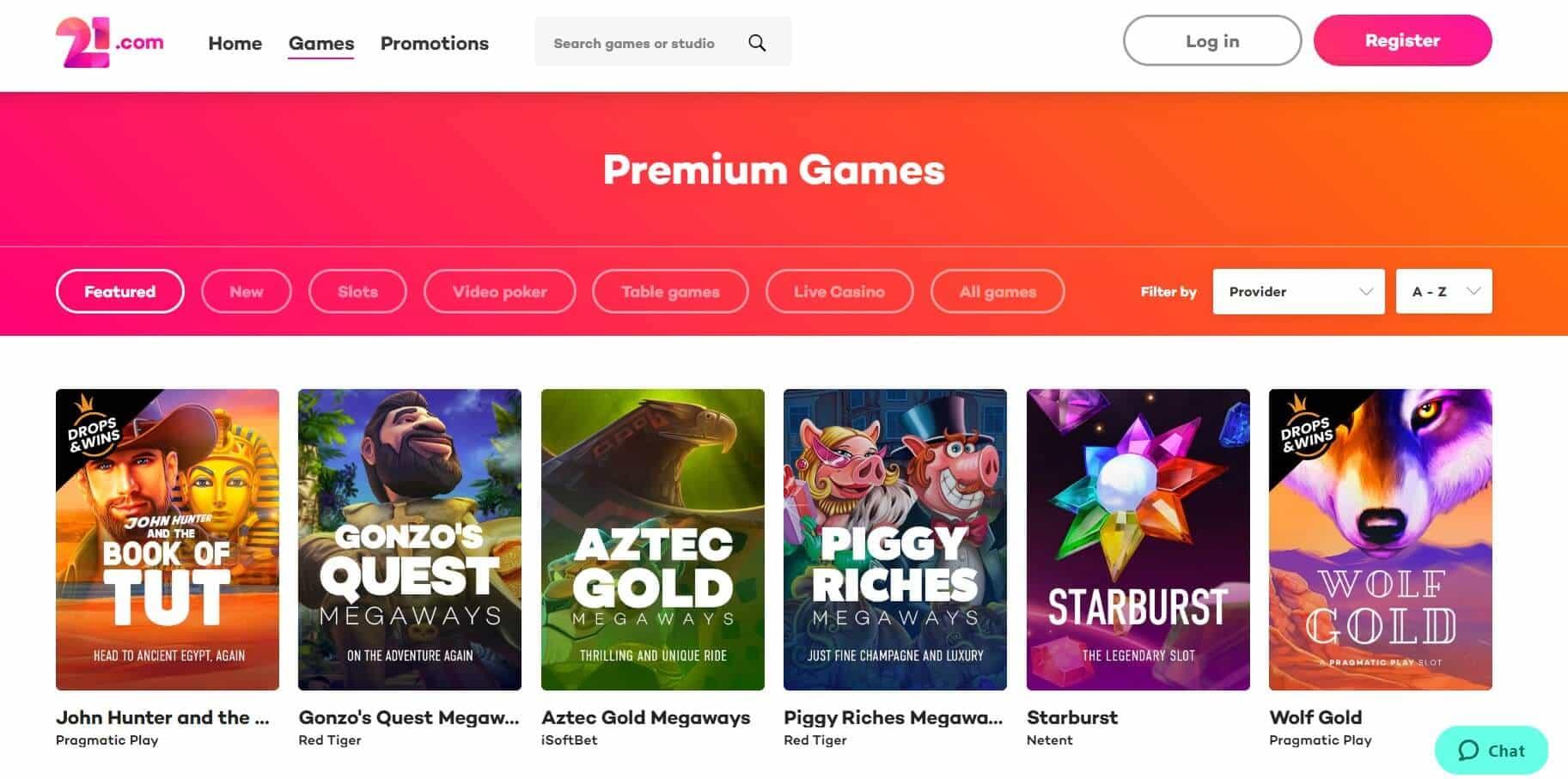 21. com Casino game list