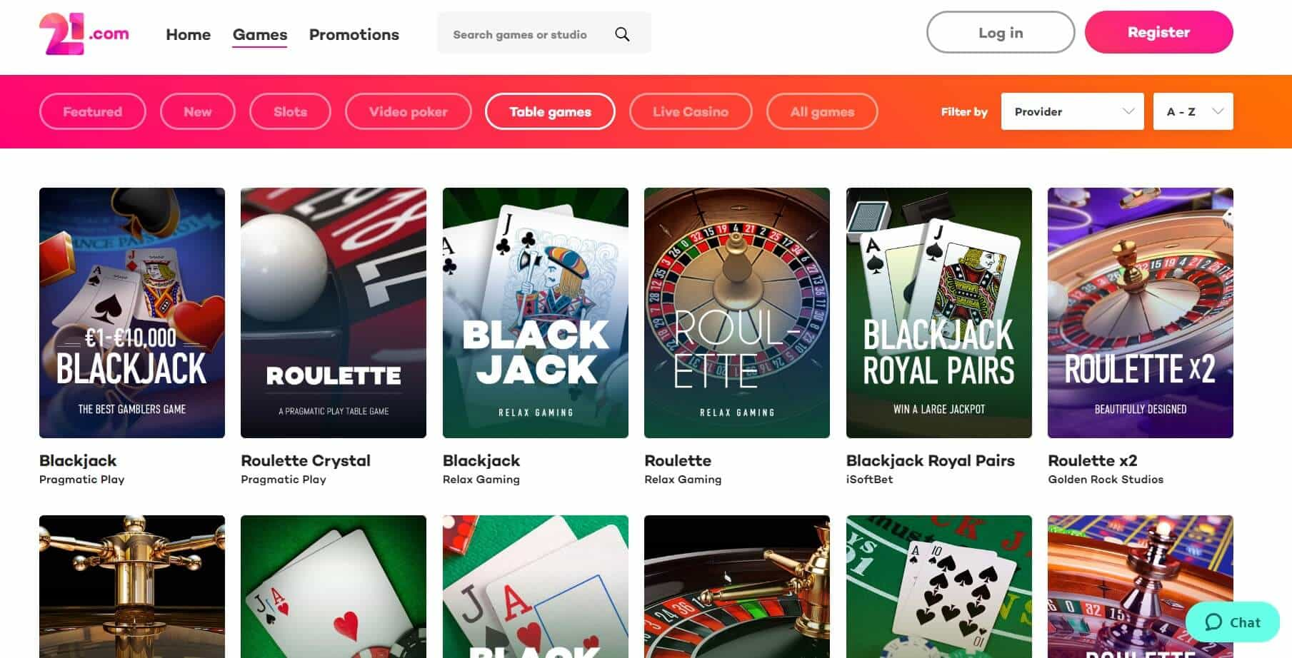 21. com Casino table games