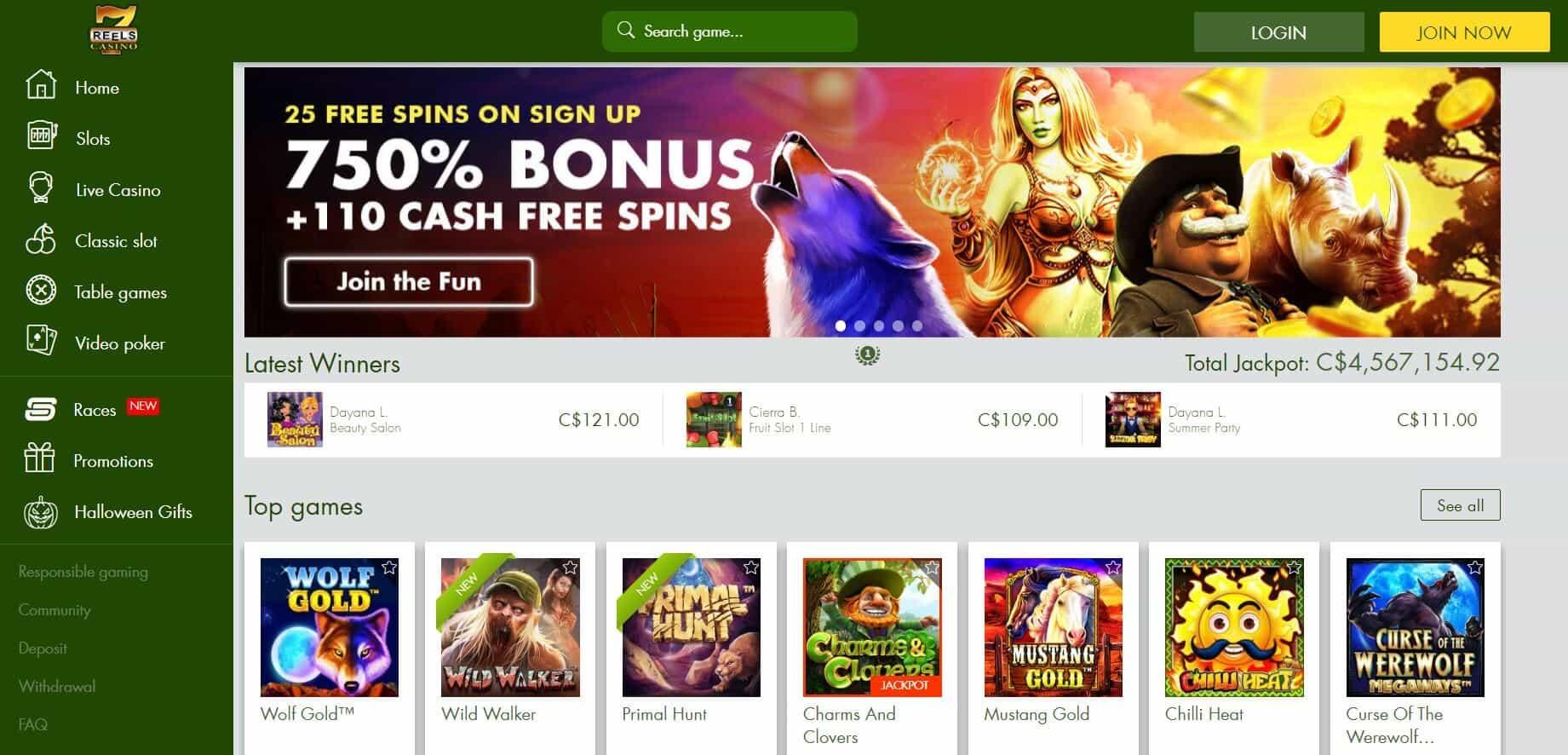 7 reels casino homepage