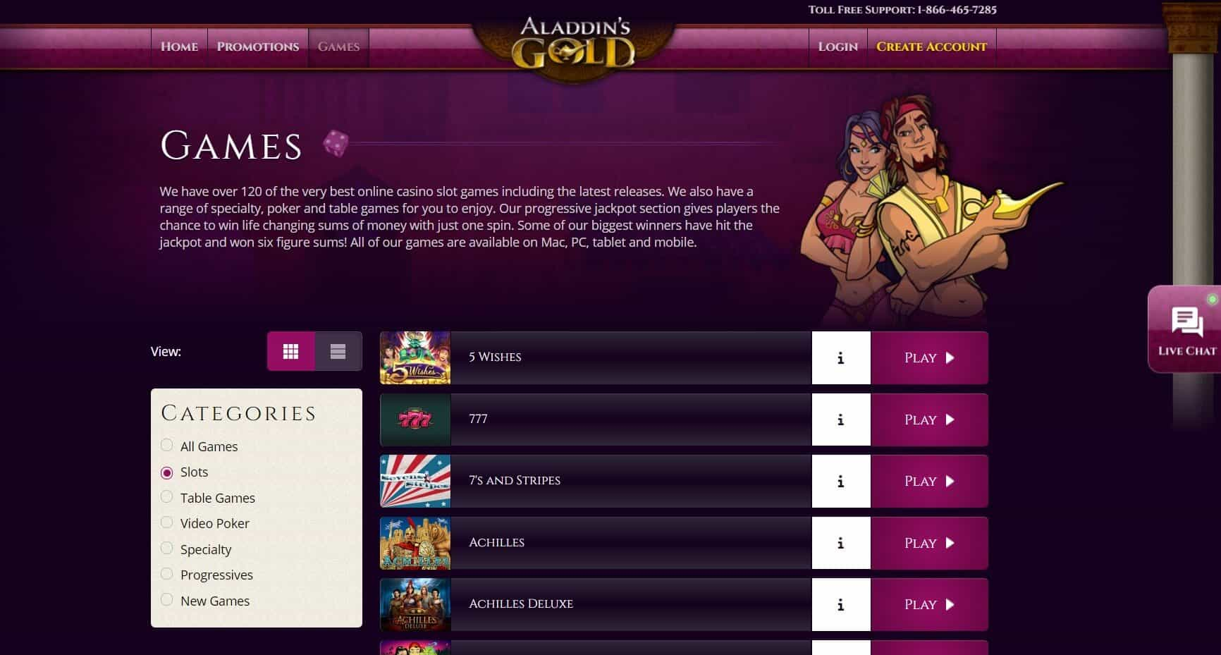 Aladdins Gold Casino Game list