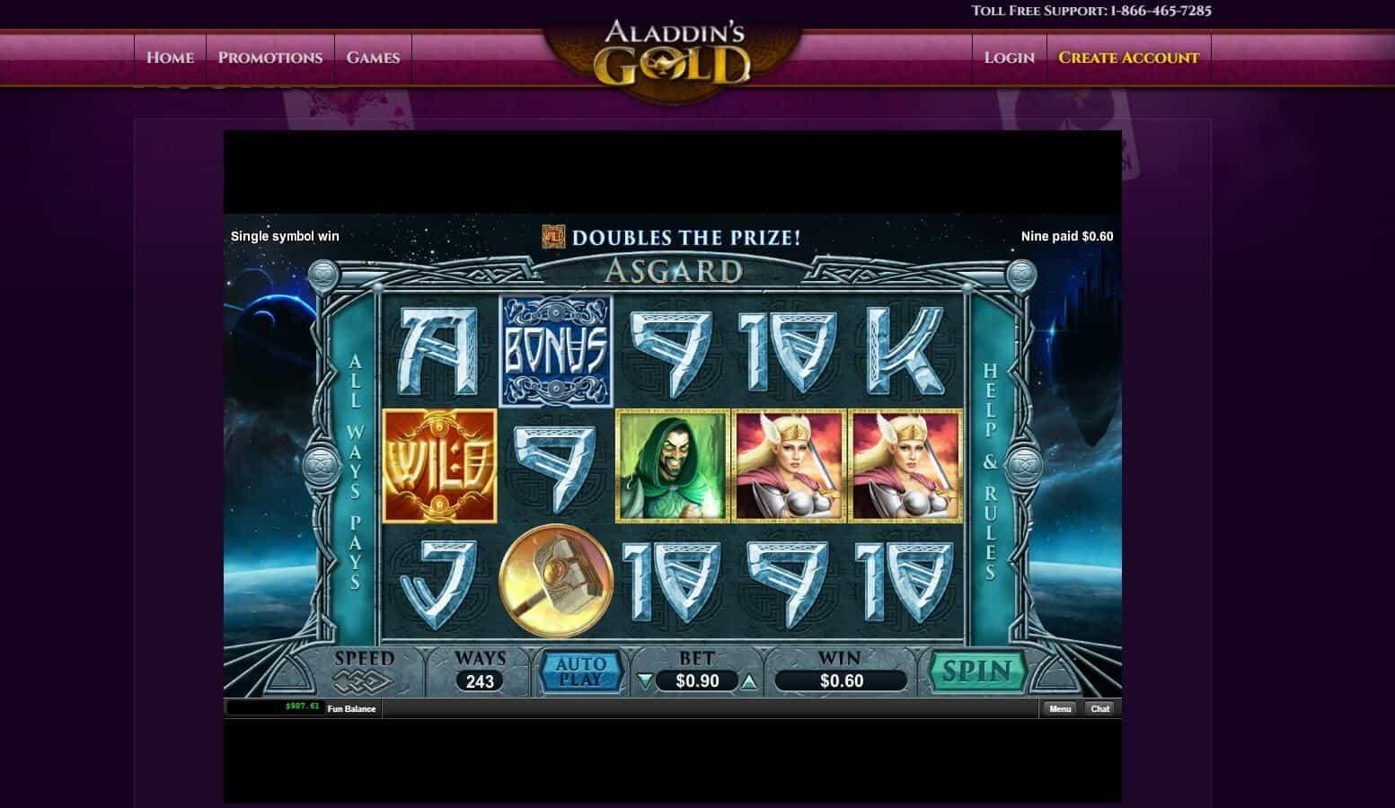 Aladdins Gold Casino Asgard Slot