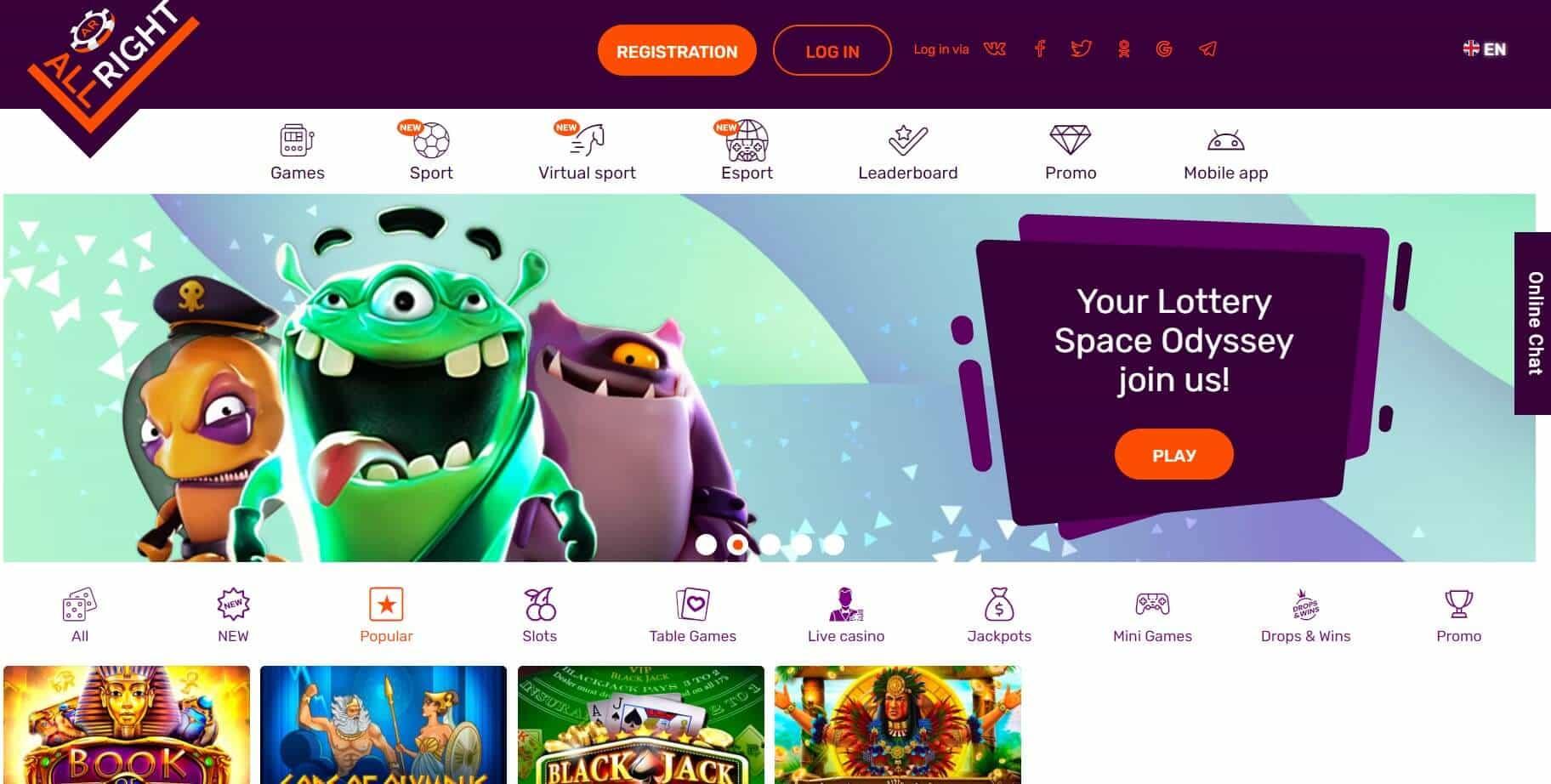 All Right casino homepage