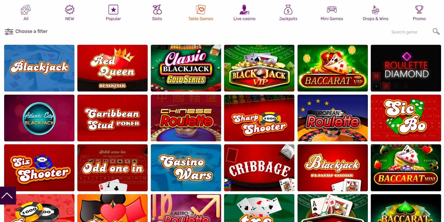 All Right casino table games