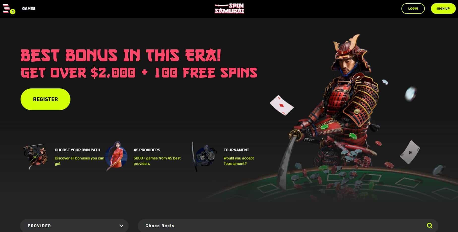 Spin Samurai Casino homepage