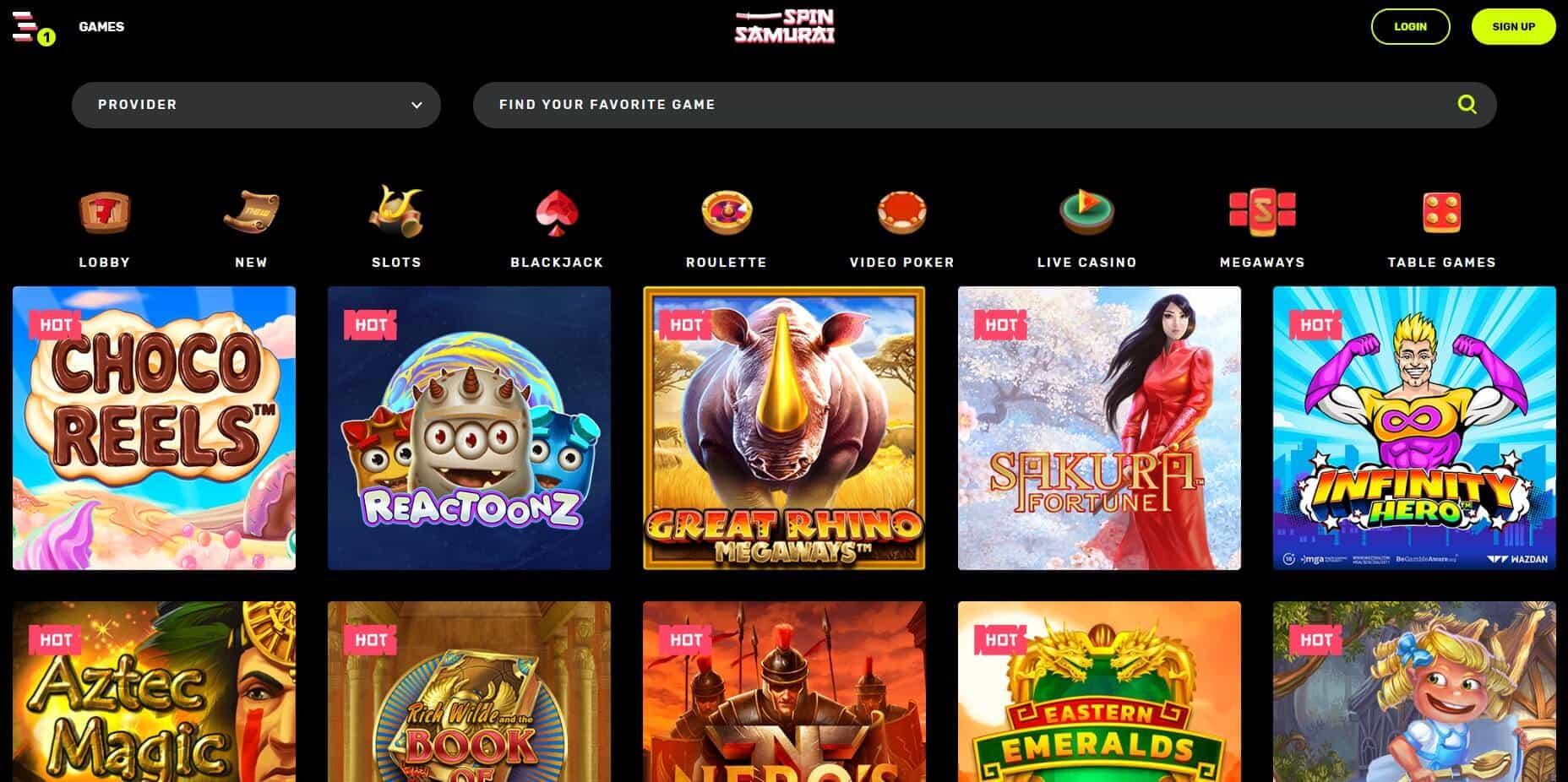 Spin Samurai Casino games