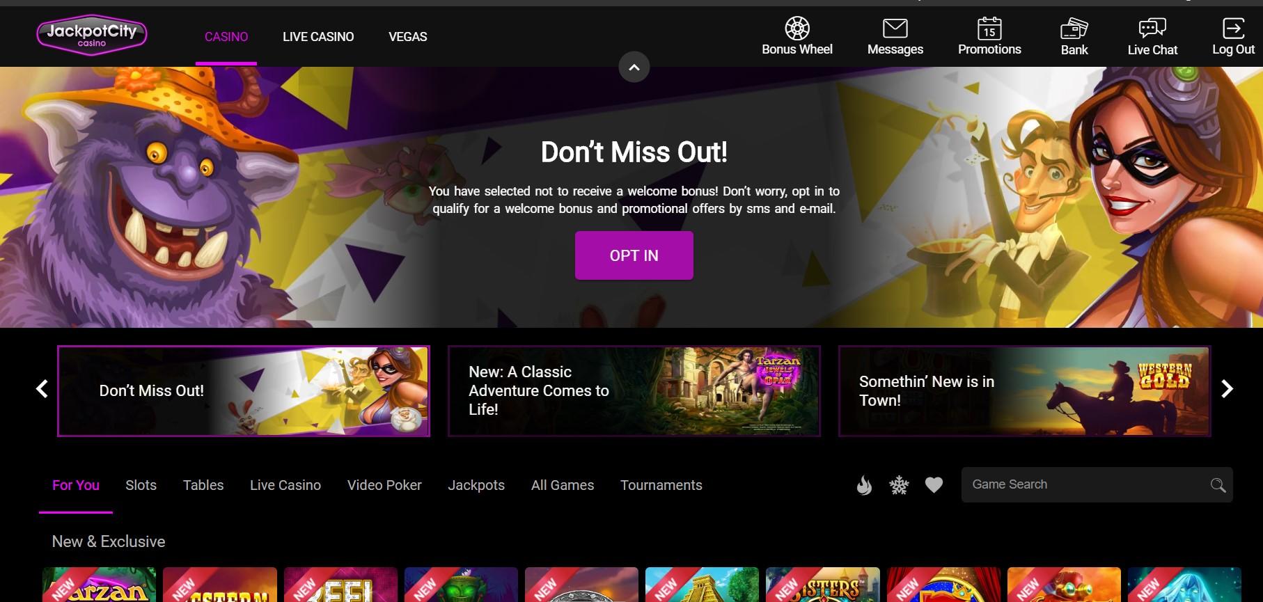 Jackpotcity Casino start page