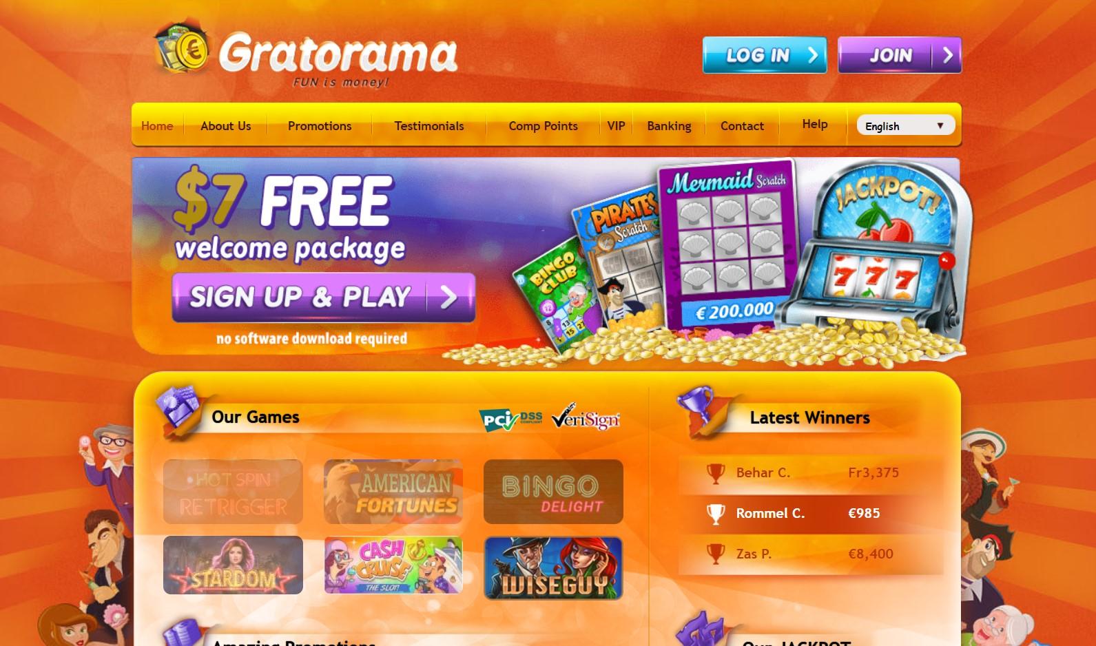 Gratorama Casino home page