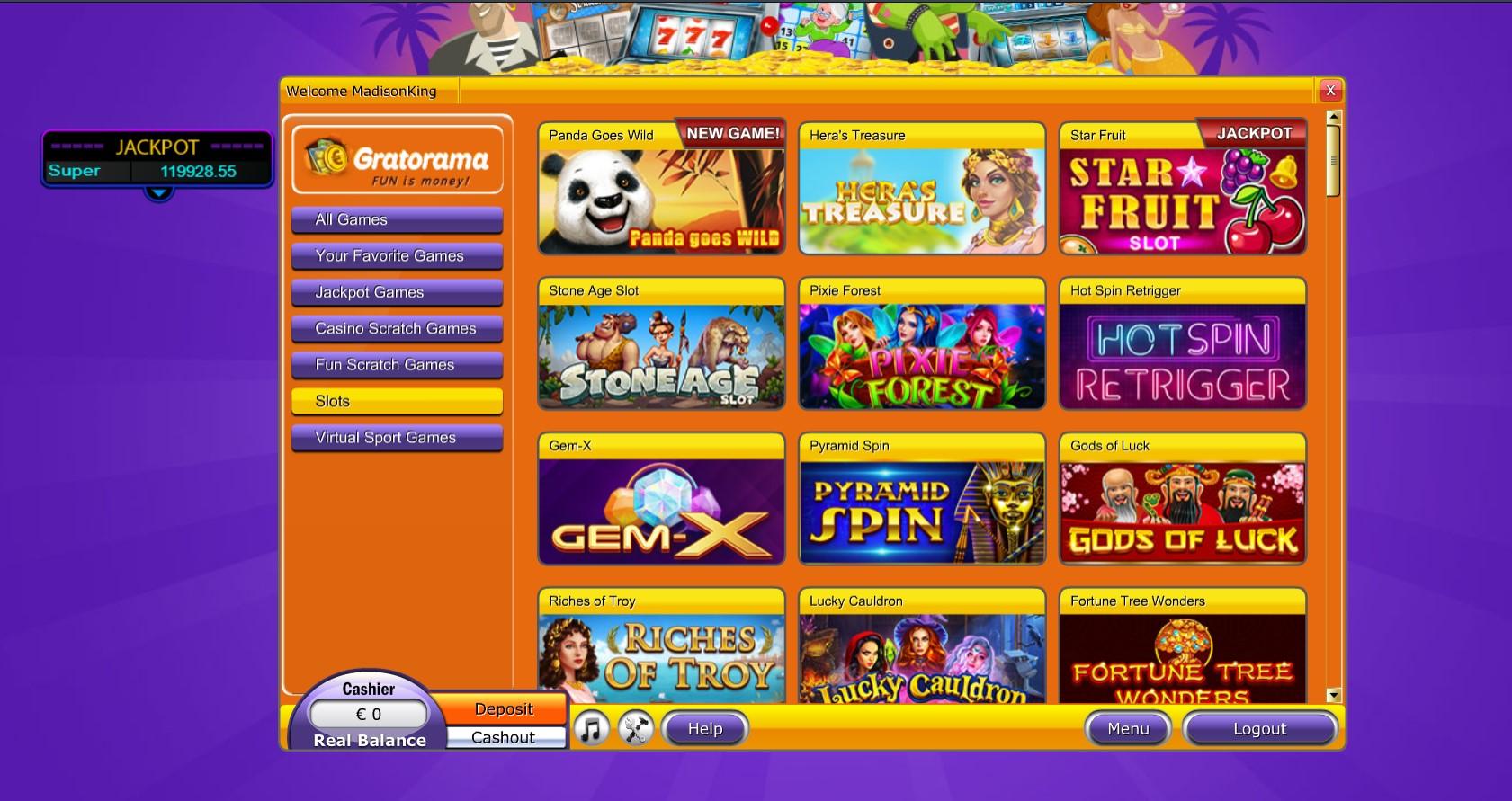 Gratorama Casino game list
