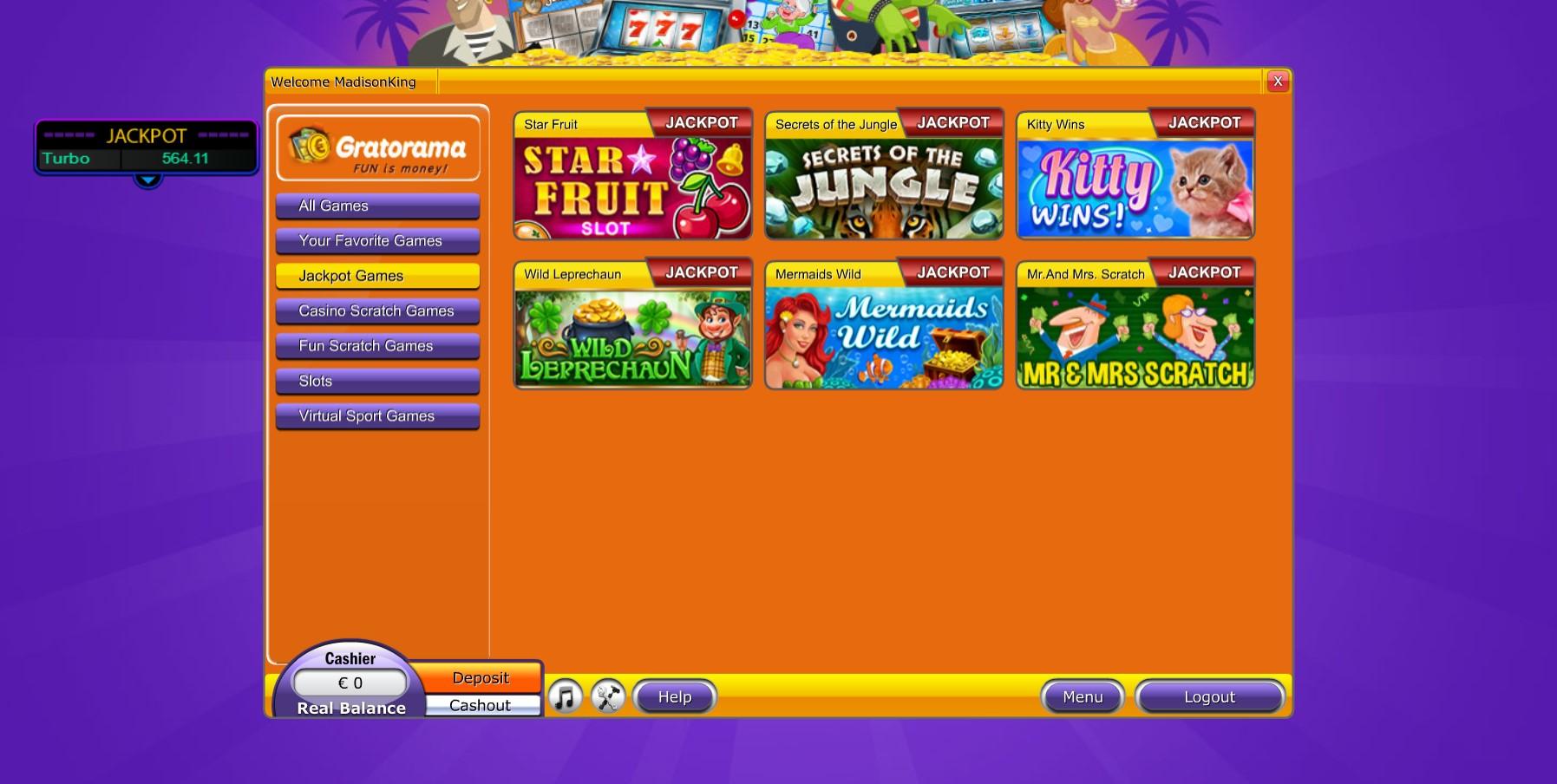 Gratorama Casino games