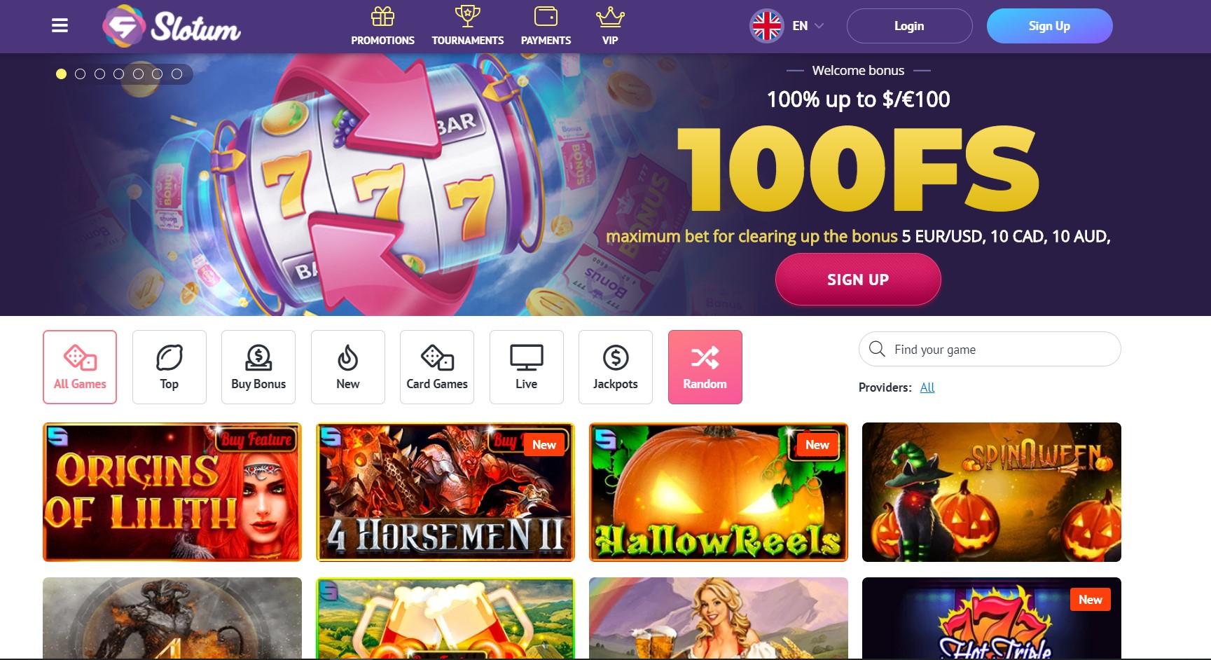 Slotum casino homepage