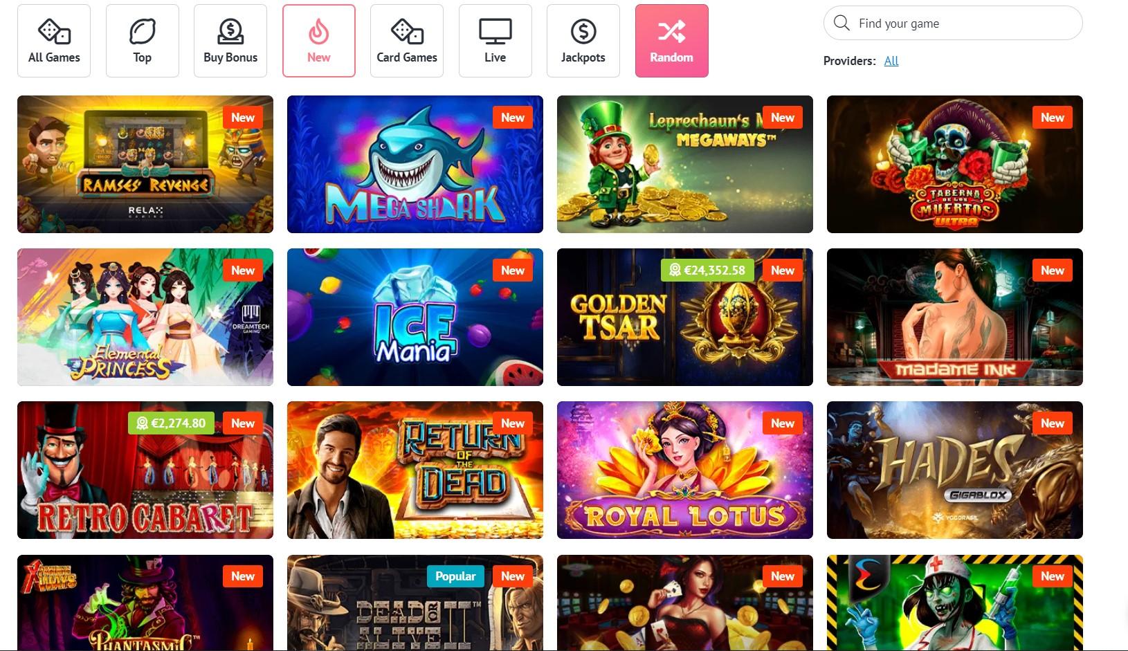 Slotum casino games list