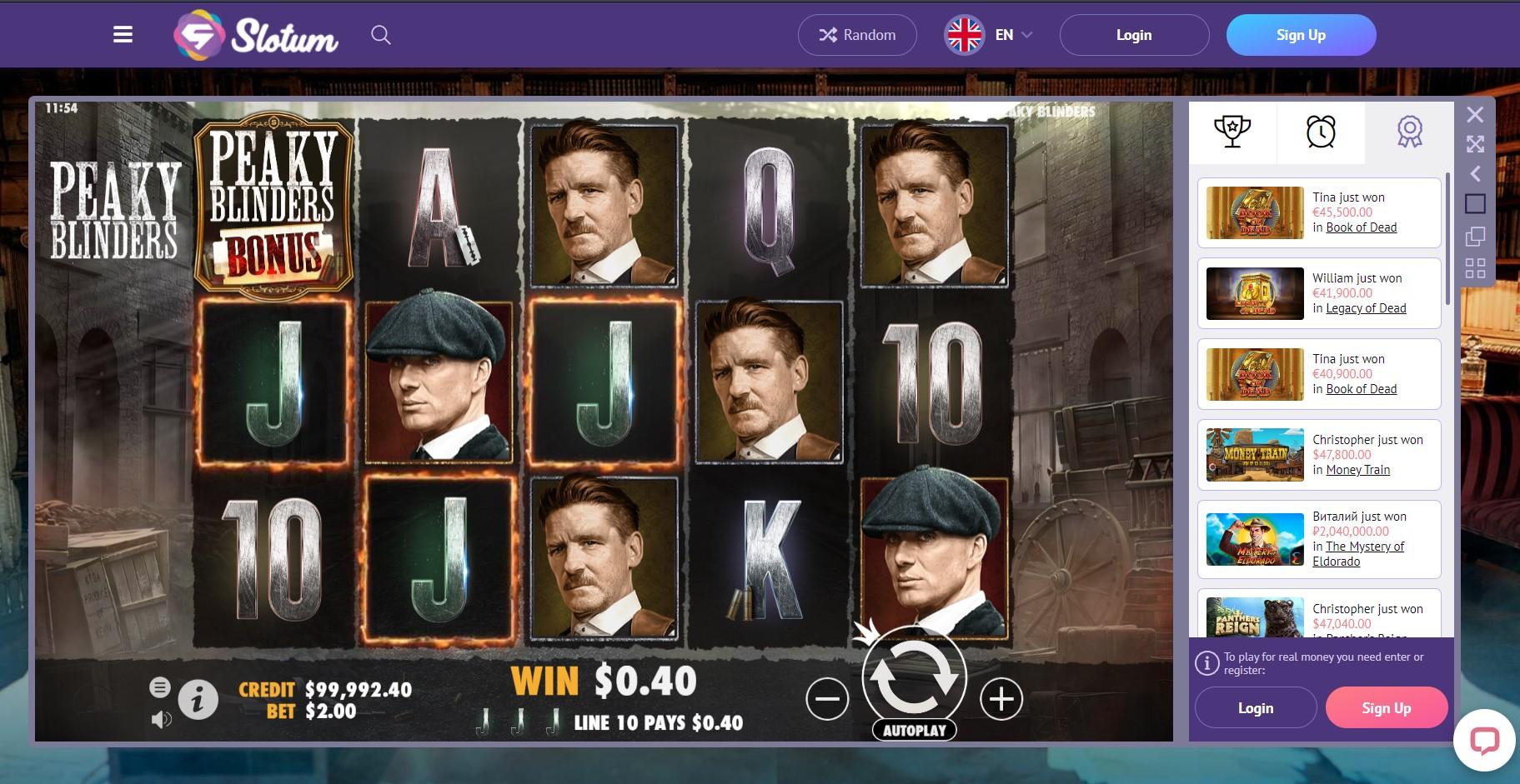 Slotum casino peaky blinders slot