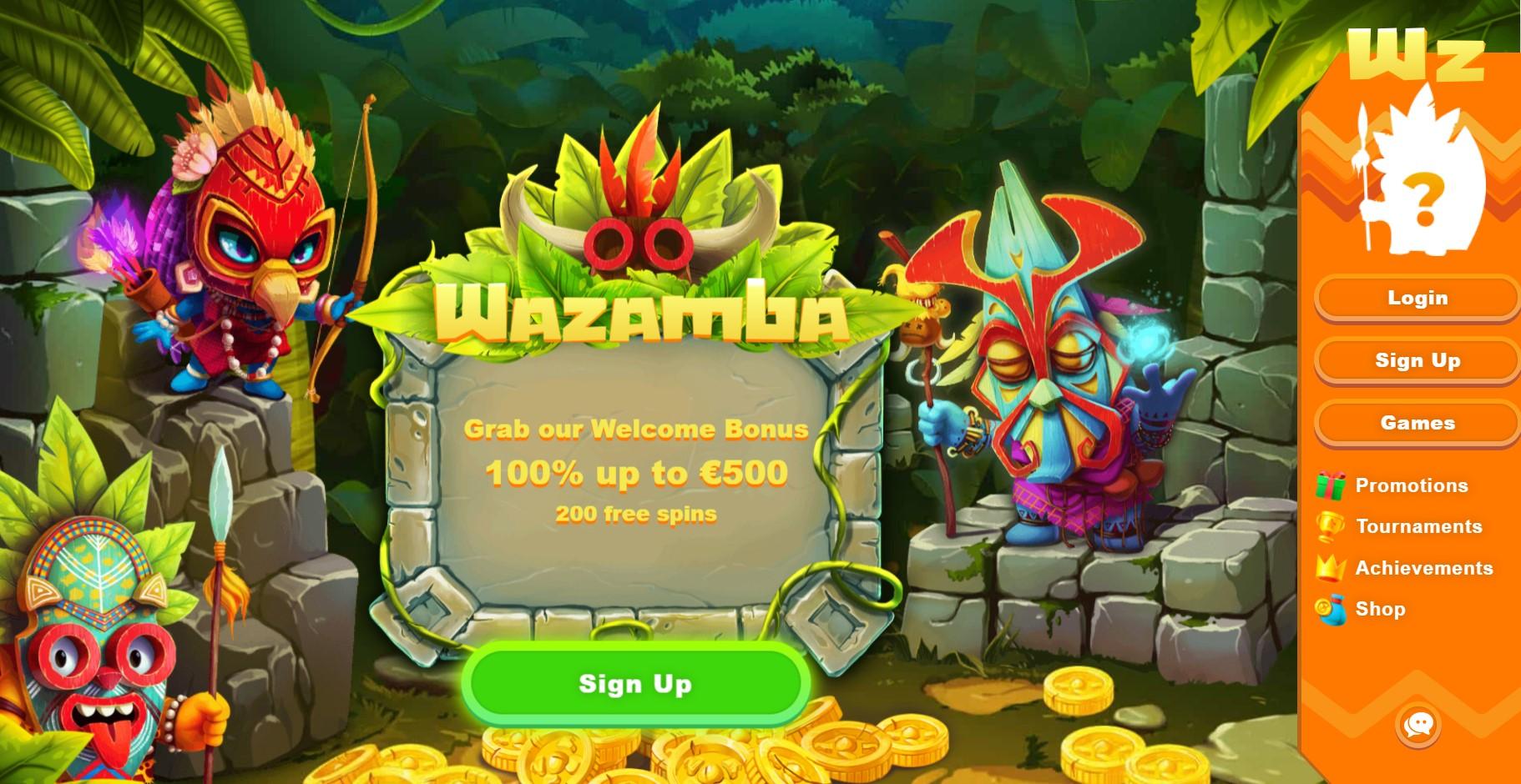 Wazamba Casino homepage