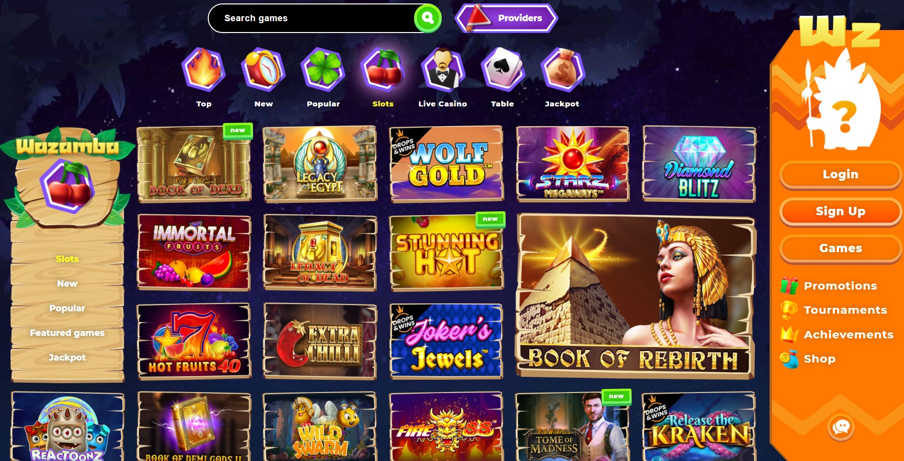 Wazamba Casino games