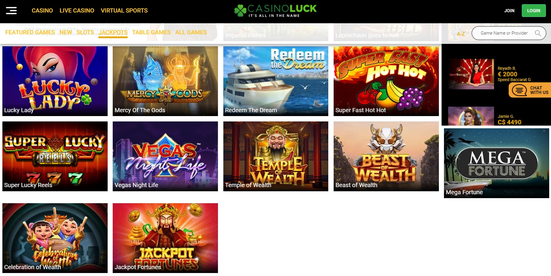 CasinoLuck jackpot games