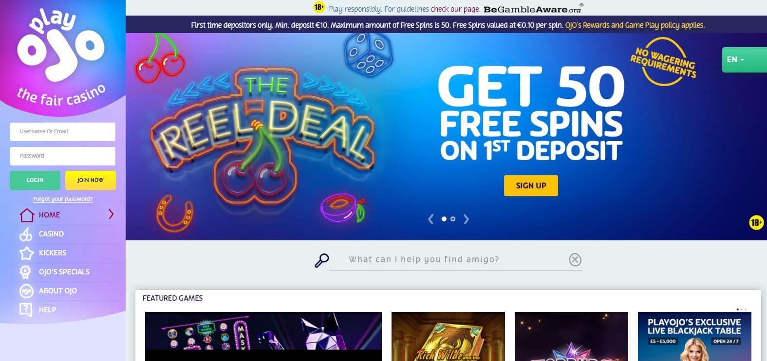 Play Ojo Casino Homepage