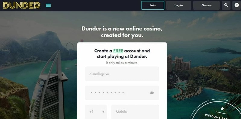 Dunder Casino Form