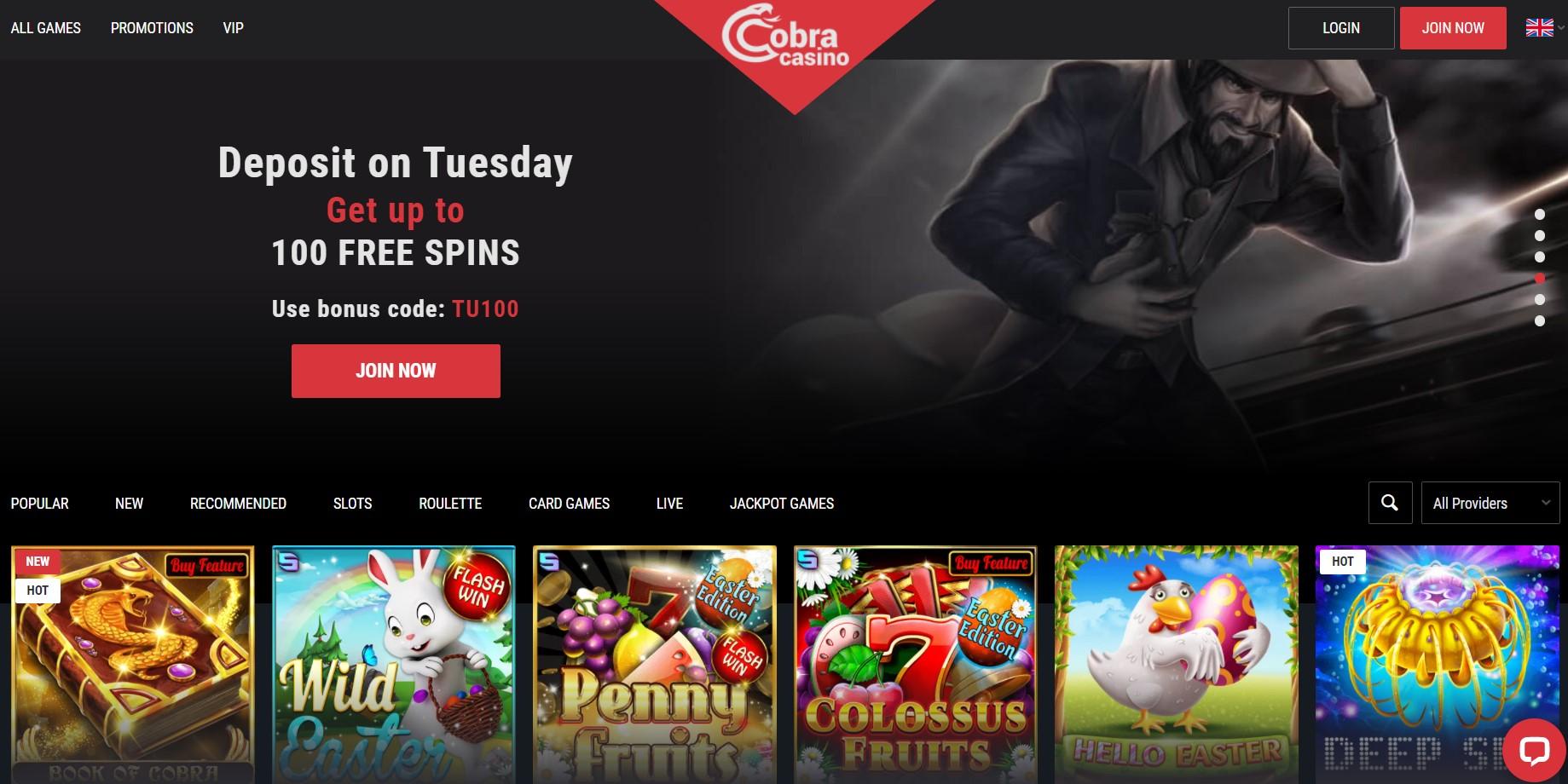 Cobra casino home page