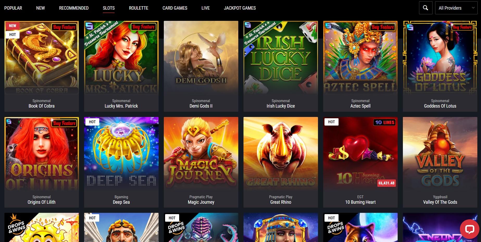 Cobra casino games list
