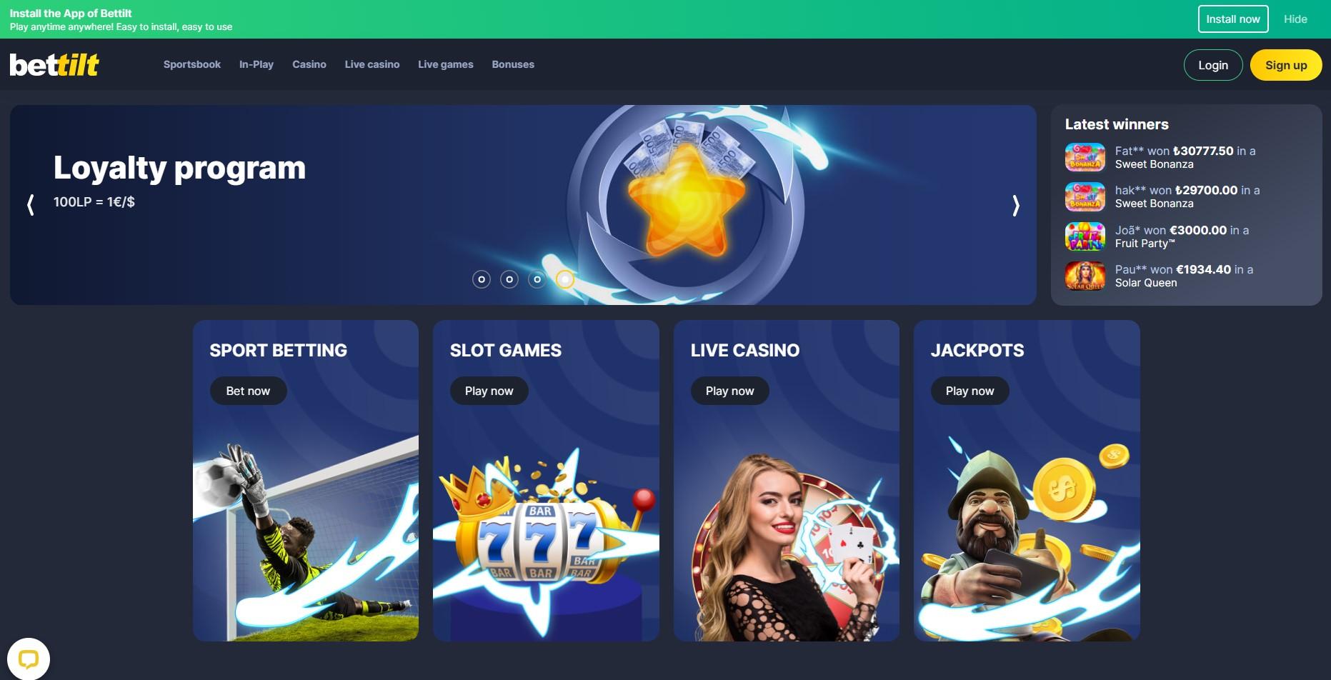 Bettilt casino main page