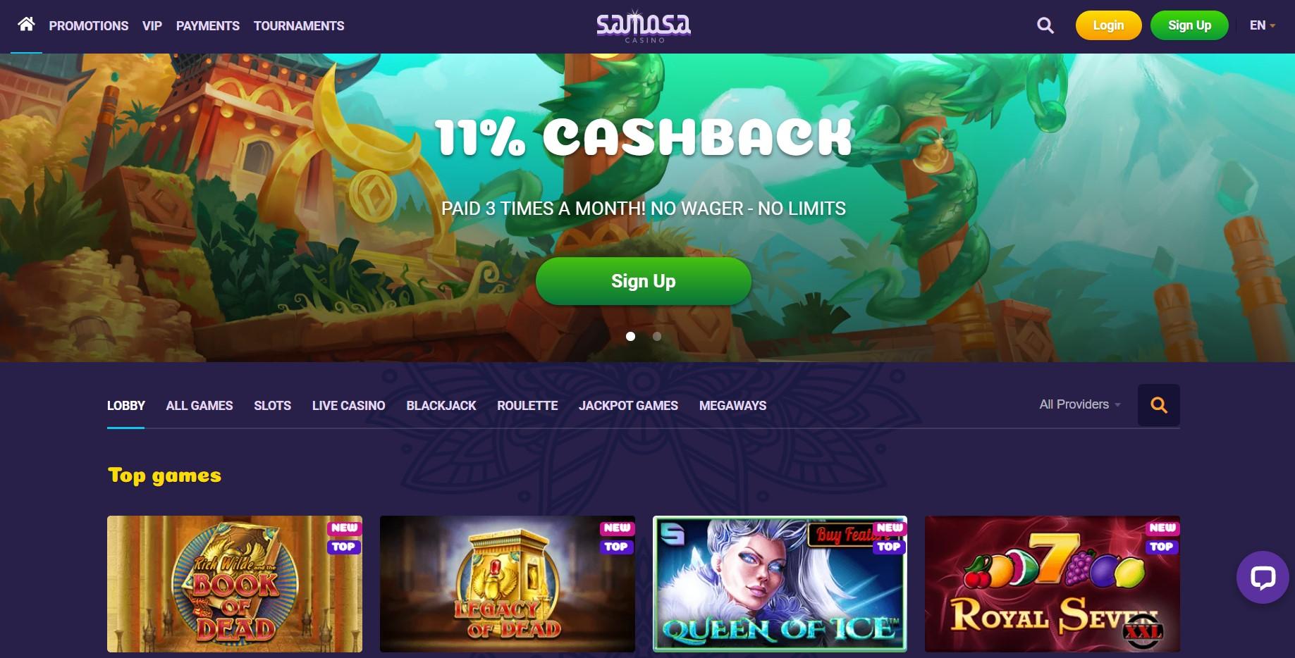 Samosa Casino homepage