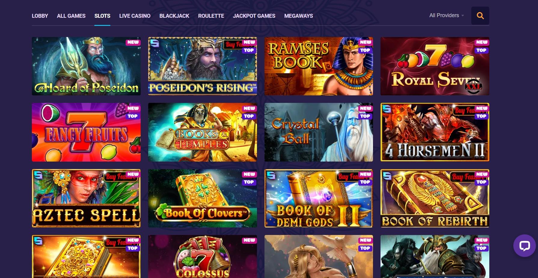 Samosa Casino game list